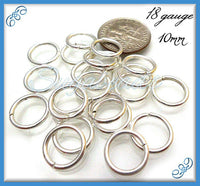 70 pcs - Silver Plated Copper Open Jump Rings 10mm 18 Gauge JRSP6
