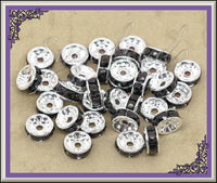 40 Black Rhinestone Rondelle Silver Spacer Beads 8mm