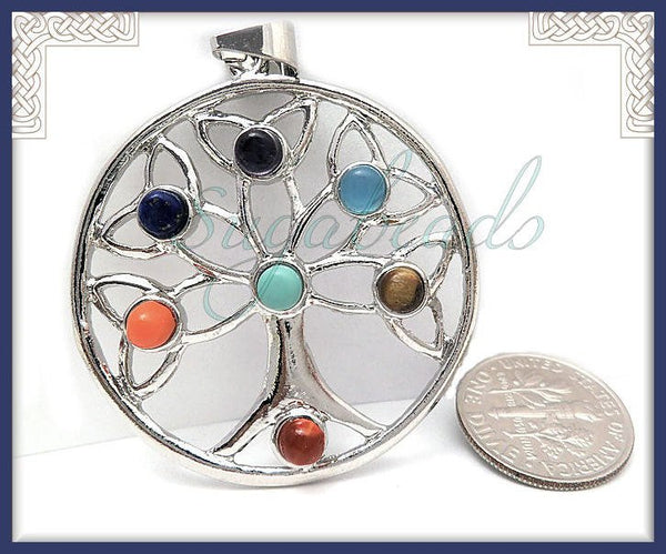1 Silver Celtic Chakra Tree Pendant, Round Tree Pendant, 49mm PS247