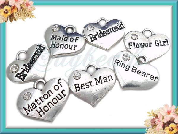 8 Antiqued Silver Wedding Charm Set with Crystal -Wedding Theme Charms 16mm PS156 - sugabeads