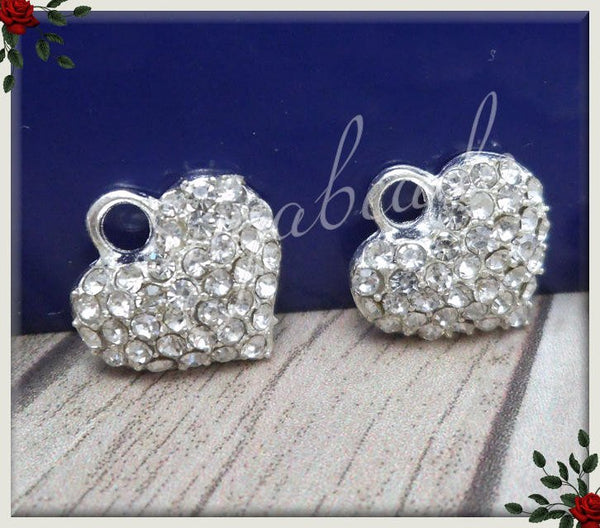 6 Silver Plated Crystal Heart Charms 13mm PS161