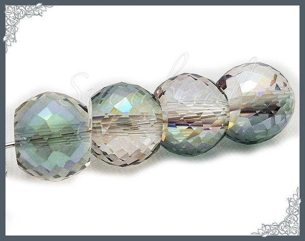 10 Multi Faceted Crystal Beads, AB Barrel Crystal Beads, 12mm Crystal Beads