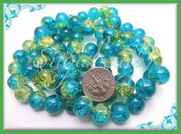 50 Aqua Blue and Lime Green Two Tone Crackle Glass Beads 10mm