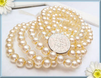 25 Czech Glass Beads Pearl Beige 6mm - Czech Druk Beads