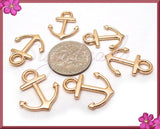 20 Light Rose Gold Anchors, Rose Gold Anchor Charms 18mm, Small Anchors, Nautical Charms