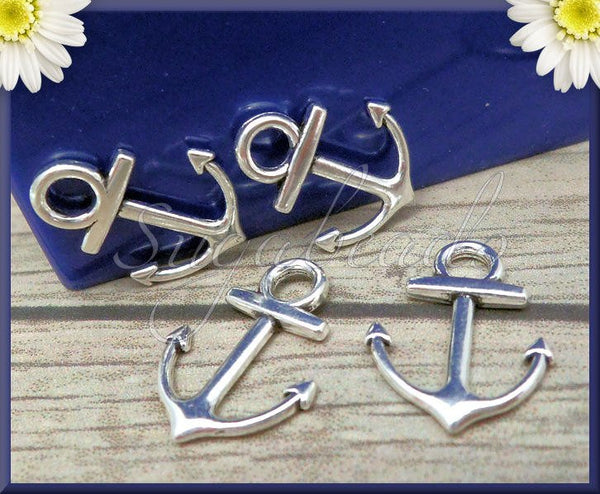 20 Antiqued Silver Anchors, Silver Anchor Charms, 18mm Small Anchors,Anchor Charms, PS162 - sugabeads