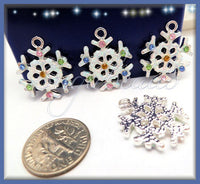 4 Snowflake Charms, Rhinestone Winter Charms, Glitter Snowflake Pendants, 22mm Snow Flake, PS104