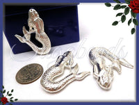 1 Large Mermaid Pendant, Bright Silver Mermaid, 31mm Mermaid, PS175