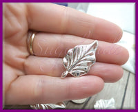 6 Silver Plated Leaf Charms or Pendants 32mm PS151