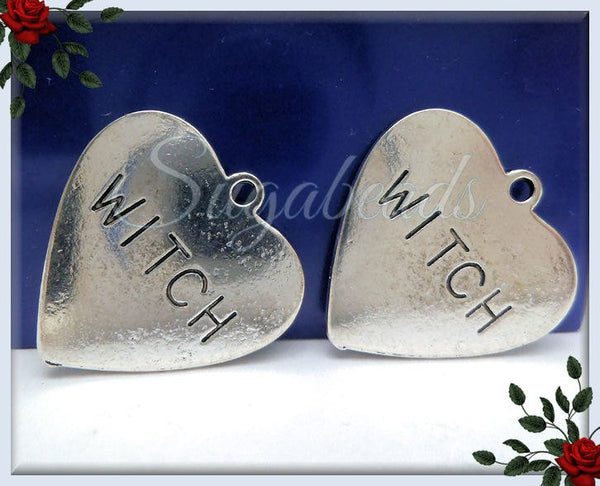4 Antiqued Silver Witch Heart Pendants 25mm, PS180