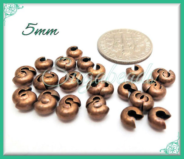 50 Copper Crimp Covers, 5mm Crimp Cover Beads, Antiqued Copper Crimp Bead covers, PS62