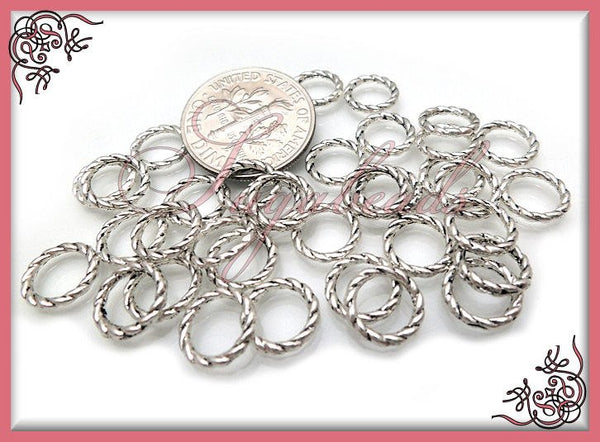 50 Closed Twisted Jump Rings - Antiqued Silver Jump rings 8mm #JRT2