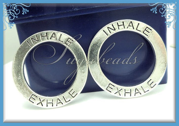 4 Antiqued Silver Inhale Exhale Circle Charms, Yoga Charms, 30mm, PS182 - sugabeads