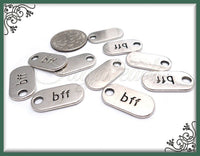 12 Antiqued Silver BFF Charms - Best Friends Forever Tags, 18mm BFF tags, PS112