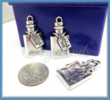 4 Antiqued Silver Drink Me Potions - Silver Poison Bottles 28mm PS186