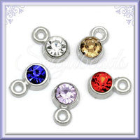 20 Mixed Silver Crystal Charms - Mixed Rhinestone Charms 8mm x 5mm PS188