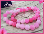 Frosted Pink Agate Beads - Full Strand Pink Matte Agate, 8mm Dragon Vein Agate SBGB5