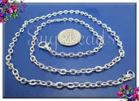 12 Pack Bright Silver Finished Cable Chains, Textured 20 Inch Chain, CSPT2 - sugabeads