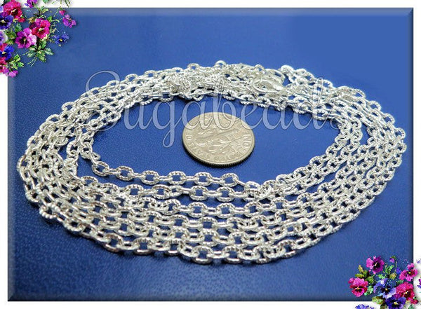 4 Bright Silver Chains, Finished Cable Chains - Textured Cable Necklaces, 20 inch Chains, CSPT2