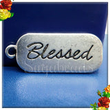 8 Antiqued Silver Stamped Blessed Charms PS195