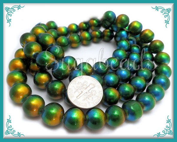 40 Round Peacock Glass Beads - Blue Green Yellow Beads 10mm