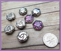 10 Gunmetal & Fuschsia Pink Glass Flower Beads 16mm