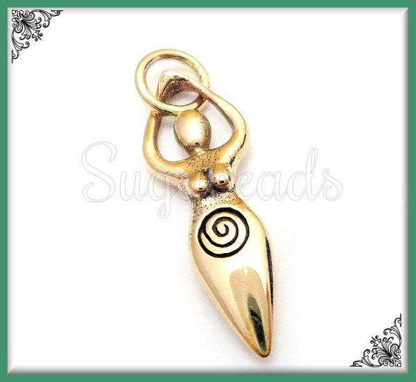 1 Bronze Goddess Charm - Natural Bronze Spiral Goddess 23mm ND18