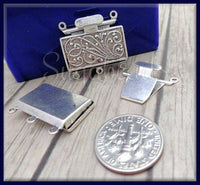 1 Silver Plated over Brass 3 Strand Box Clasp - Silver Push Clasp 23mm