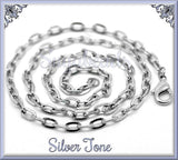 4 Silver Tone Flat Cable Chain Finished Necklaces 20 inch (CST3)