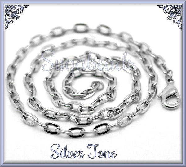 12 Silver Tone Chains, Flat Link Cable Chains, Finished Necklaces, 20 inch Chains, CST3