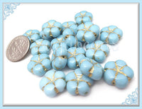8 Baby Blue Czech Glass Flower Beads 14mm, Pressed Czech Glass Flower Beads, Sky Blue Flower Beads