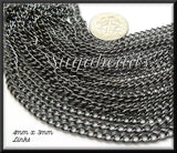 Bulk Chain - Black Gunmetal Curb Chain, 32 feet of Chain, Gunmetal Chain 4mm x 3mm links, CGM5