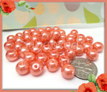 50 Coral Peach Glass Pearl Beads 8mm, Round Glass Pearl Beads