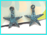 2 Copper w Green Patina Starfish Charms - Verdigris Patina Ocean Charms 24mm MK3