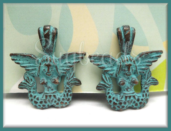 1 x Mykonos Mermaid Charm w Green Patina, Sailor's Siren, Winged Mermaid, 28mm MK8