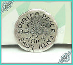 1 Rustic Peace Charm, Spirit, Peace, Faith, Love, Joy, Aspire - Stamped Yoga Pendant 23mm
