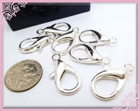 14 Large Silver Lobster Clasps, 23mm x 12mm Clasps, Bright Silver Clasps, Large Clasps - sugabeads