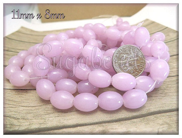 70 Pretty Light Mauve Oval Glass Beads 11mm x 8mm GB2 - sugabeads