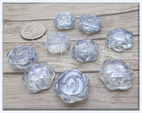 10 Silvery Grey Glass Flower Beads, 16mm Flower Beads