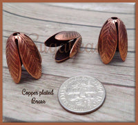 2 Large Copper Leaf Bead Caps 20mm x 14mm