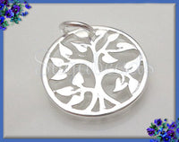 1 Silver plated Natural Bronze Tree Charm 15mm, ND22