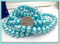 50 Aqua Blue Faceted Glass Rondelle Beads with Pearl Coat GB6