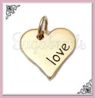 1 Natural Bronze Heart Charm, 12mm Stamped with the Word Love, ND20