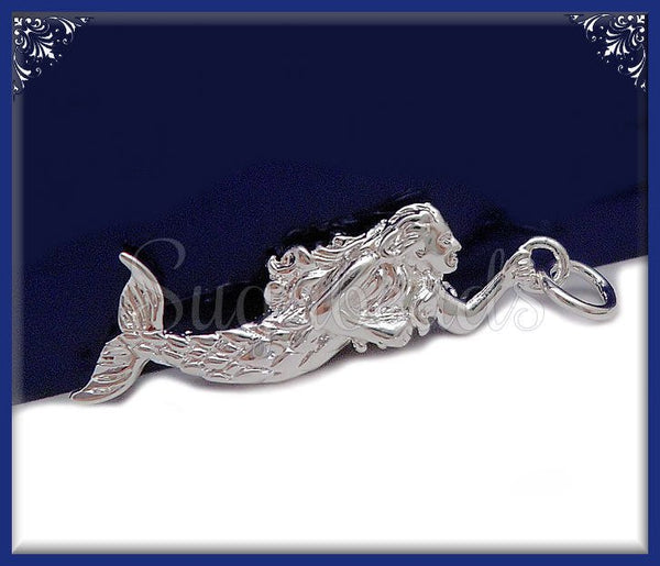 1 Silver Plated Bronze Mermaid Charm - Swimming Mermaid 31mm ND19