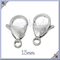 10 Stainless Steel Lobster Clasps 15mm - Surgical Steel Clasps