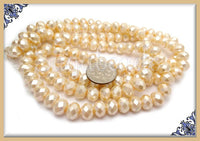 50 Soft Yellow Faceted Glass Rondelle Beads with Pearl Coat GB7