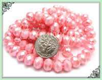 50 Pink Pearl Coat Rondelle Beads - Faceted Pink Rondelle Glass Beads GB8 - sugabeads