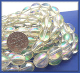 1 Strand Crystal Clear AB Finish Oval Glass Beads 11mm x 8mm GB10