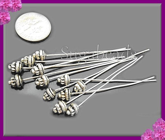 20 Antiqued Silver Fancy Head pins 2 inch with 5.5mm Spacer Bead Head - sugabeads
