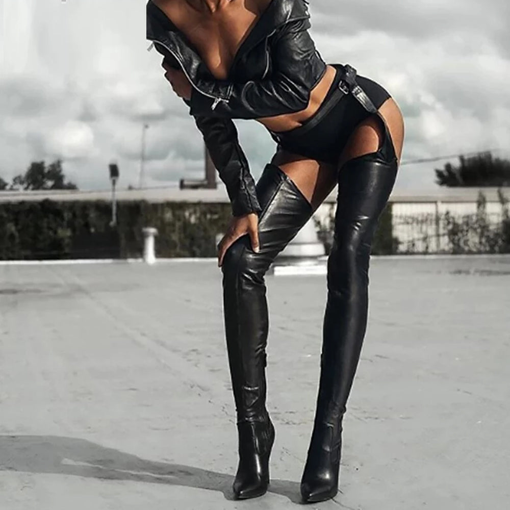 Over Knee Boots Sexy Strap Zip